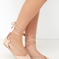 Line of Sight Nude Lace-Up Flats