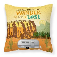 Airstream Camper Camping Wander Fabric Decorative Pillow VHA3026PW1414