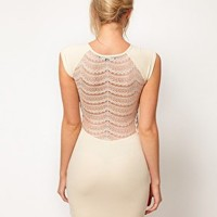 French Connection Bodycon Dress With Lace Back at asos.com