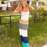 Stripes of Summer Maxi Skirt Turquoise
