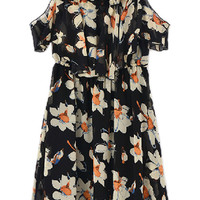 ROMWE Off Shoulder Floral Print Black Dress