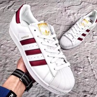 ADIDAS new tide brand men and women models Burgundy high quality low cut shoes