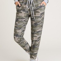 Camo Jogger Pants with Drawstring Waist - Army Green