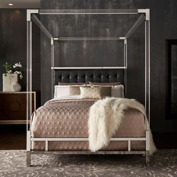 Reid Acrylic and Chrome Canopy Bed with Tufted Headboard by iNSPIRE Q Bold | Overstock.com Shopping - The Best Deals on Beds