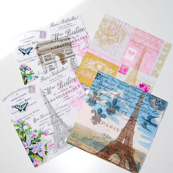 Decoupage Paris Set - 4 Paper Napkins for Decoupage, Collage, Scrapbooking and Paper Craft Projects