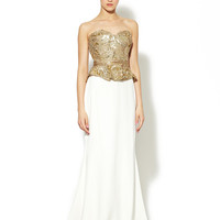 Gold Metallic Bodice Silk Strapless Column Gown by Marchesa Couture at Gilt