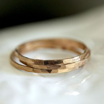 14k Gold Hammered Stacking Rings