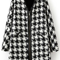 ROMWE   Pocketed Zippered Houndstooth Coat, The Latest Street Fashion