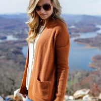 Half-Light Drop Shoulder Cardigan, Rust