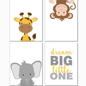 Jungle Safari Animals Nursery Art Set of 4 Prints - Elephant, Giraffe, Monkey, Dream Big Little One