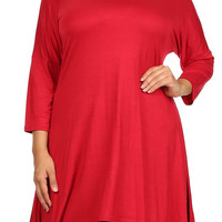 998 PLUS SIZE SOLID KNIT DRESS       # 208093