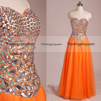 Sparkling Orange and Gold Strapless All Diamonds Bodice Long Party Dress,Bridesmaid dresses,cocktail dresses,evening dresses,senior prom