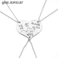 QIHE JEWELRY 3 Piece Heart Personalized Hand Stamped big sis middle sis little sis 3 Sister Necklace Family Jewelry Sisters Gift