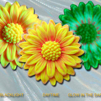 EyeGloArts Glow in the dark jewelry Sunflower Yellow Orange Daisy Pendant neon blacklight UV reactive polymer clay Handmade in the USA