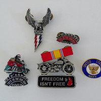 Biker Pins US Army Veterans Vest Jacket Pins Desert Storm US Navy Toys In the Sun Upcycle Recycle Use for Crafts