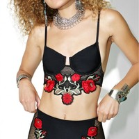 Black Rose Embroidered Bikini Bottoms