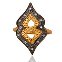 18K Yellow Gold Plated Sterling Silver Cubic Zirconia Statement Ring