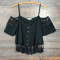 black boho off the shoulder shirt