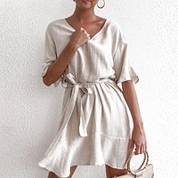 Casual Solid Cotton Linen Dresses Women Short Sleeve V Neck Mini Party Dress Ladies A-line Outfit