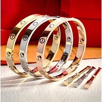 """Cartier""Popular Women Men Leisure Rose Gold Bracelet Screw Bracelet Lovers Bracelet I"