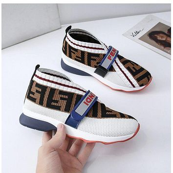 Fendi FF flying woven old shoes breathable flat sports shoes and socks men and women running casual shoes