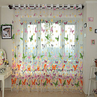 (L x W)270cm x 100cm Floral Butterflies Flower Room Tull Voile Door Window Sheer Screen Balcony Curtains Panels Drapes for Decor