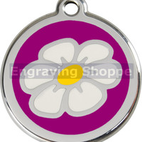Purple Daisy Enamel and Stainless Steel Personalized Custom Pet Tag with LIFETIME GUARANTEE ID Tag Dog Tags and Cat Tags Free Engraving