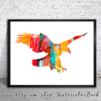 Eagle 2 Watercolor Print, Archival Fine Art Print,Children's Wall Art,Home Decor, animal watercolor, watercolor painting,bird art, Eagle art