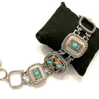 High End Designer Style Bracelet, Textured Silver Tone w/Gold Tone Accents, Faux Turquoise Tiger Eye Cabs, Multi Rhinestones, Gift for Her