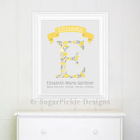 Personalized Nursery Decor, Name Art, Birth Details,  Baby Shower Gift, Keepsake - Yellow Grey Nursery Idea, Baby Girl grey nursery