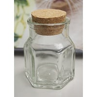 Mini Corked Jars Favor Bottle Keepsake Souvenir, Hexagon
