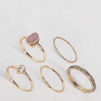 ASOS CURVE Pack of 5 Stone Etched Ring Pack at asos.com
