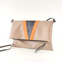 Foldover Crossbody Bag - vegan Clutch bag - Art Nouveau bag - handcrafted leather bags Made in Italy - bags by Pitti Vintage