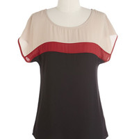 ModCloth Colorblocking Mid-length Short Sleeves Talent for Hospitality Top