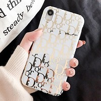 DIOR New fashion letter print couple protective cover phone case White