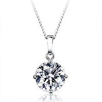 A Perfect 1CT Round Cut Russian Lab Diamond Pendant Necklace