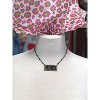 1N372BBL Bronze rectangle with black crystals on bronze chain necklace