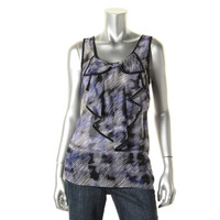 AGB Womens Chiffon Ruffled Tank Top
