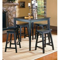 Wooden 5-Piece Counter Height Dining Set of Table & Stool, Black