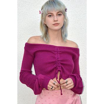 Don't Mind Shirring Front Surplus Sleeve Sweater - Fuchsia