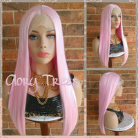 ON SALE // Long Custom Silky Straight Lace Front Wig, Baby Pink Wig, Pastel Pink Wig, High Density //HONOR ( Free Shipping )