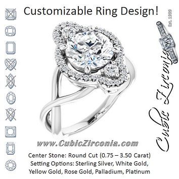 Cubic Zirconia Engagement Ring- The Josemaria (Customizable Vertical 3-stone Round Cut Design Enhanced with Multi-Halo Accents and Twisted Band)