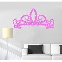 Vinyl Wall Decal Crown Queen Beautiful Princess Girl Room Stickers Unique Gift (ig3149)