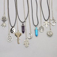 New fashion jewelry chain link crystal moon sun Elephant tree leaf pendant necklace mix design for women girl nice gift