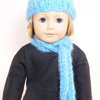 Doll hat and scarf set,  hand-knit hat, blue,  for 18 inch doll