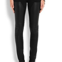 Givenchy - Leather-paneled low-rise skinny jeans