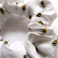 White Bumblebee Scrunchie, Cotton Scrunchie, Hair Accessory