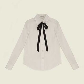 Cotton Poplin Shirt With Tie and Pin - Marc Jacobs