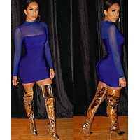 Mirian Blue Long Sleeve Bandage dress