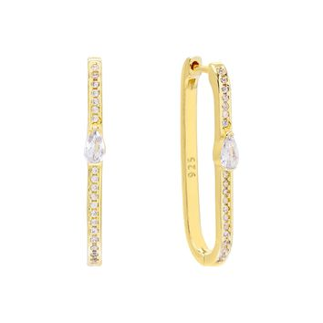 Pavé Teardrop Rectangular Hoop Earring